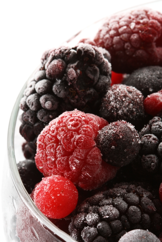 Enjoy greens blended with frozen berries!