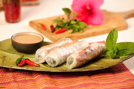 Thai Spring Rolls with Spicy Peanut Miso Sauce